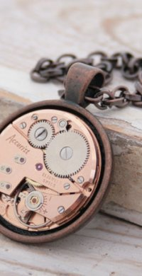 "alt=""copper steampunk necklace"""