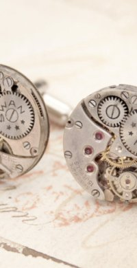 "alt=""steampunk cuff links holiday gift"""