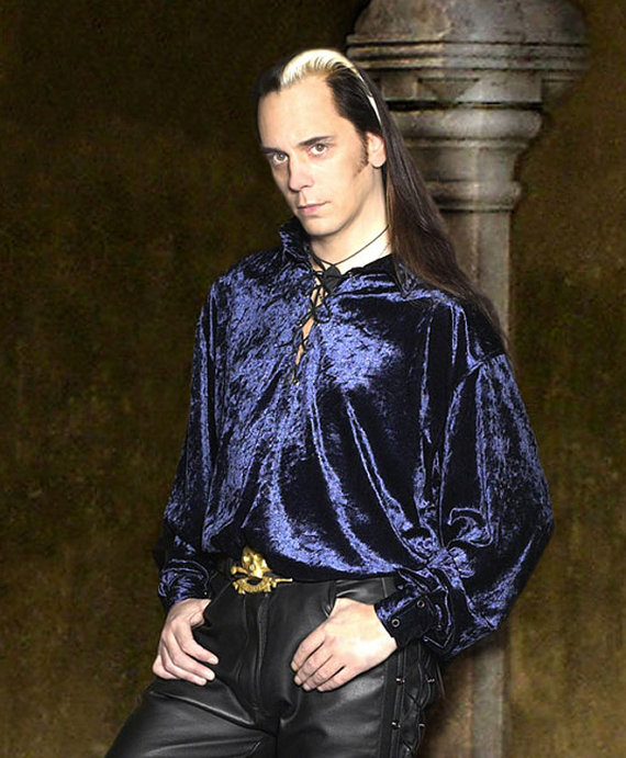 "alt=""velvet pirate costume shirt for men"""