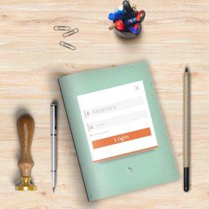 Libreta con el diseño de un formulario de acceso.
