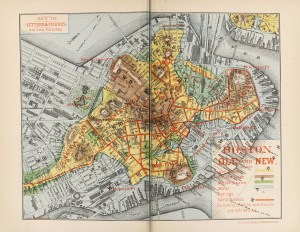 The editor has endeavored in the map which accompanies this volume, called Boston, Old and New, to depict, as well as he could, the physical characteristics of the original peninsula, with the highways and footways of the young town for its first thirty years or more, and to indicate a few of the sites most interesting in its early history.