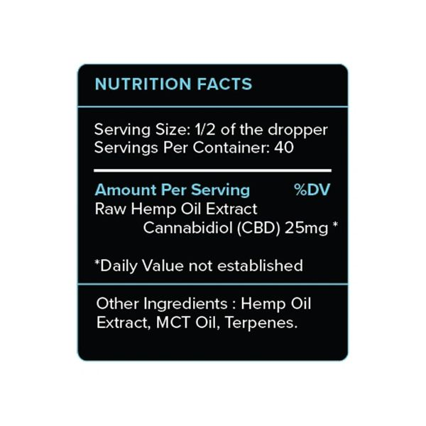 Natural CBD Oil Tincture Nutrition Facts | PureKana CBD