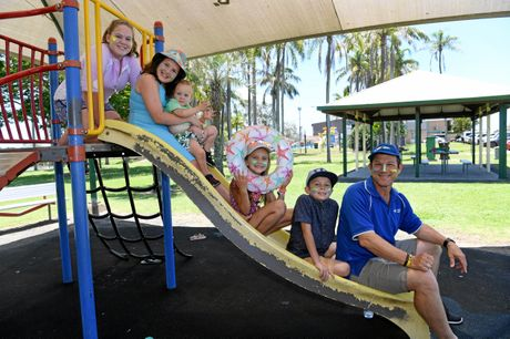FUN FOR ALL: Bridgette Howard, Tia Blair, Lewis Blair, Stevey Mae-Harney and James Blair are excited about LNP candidate's David Batt promise for water park funding.