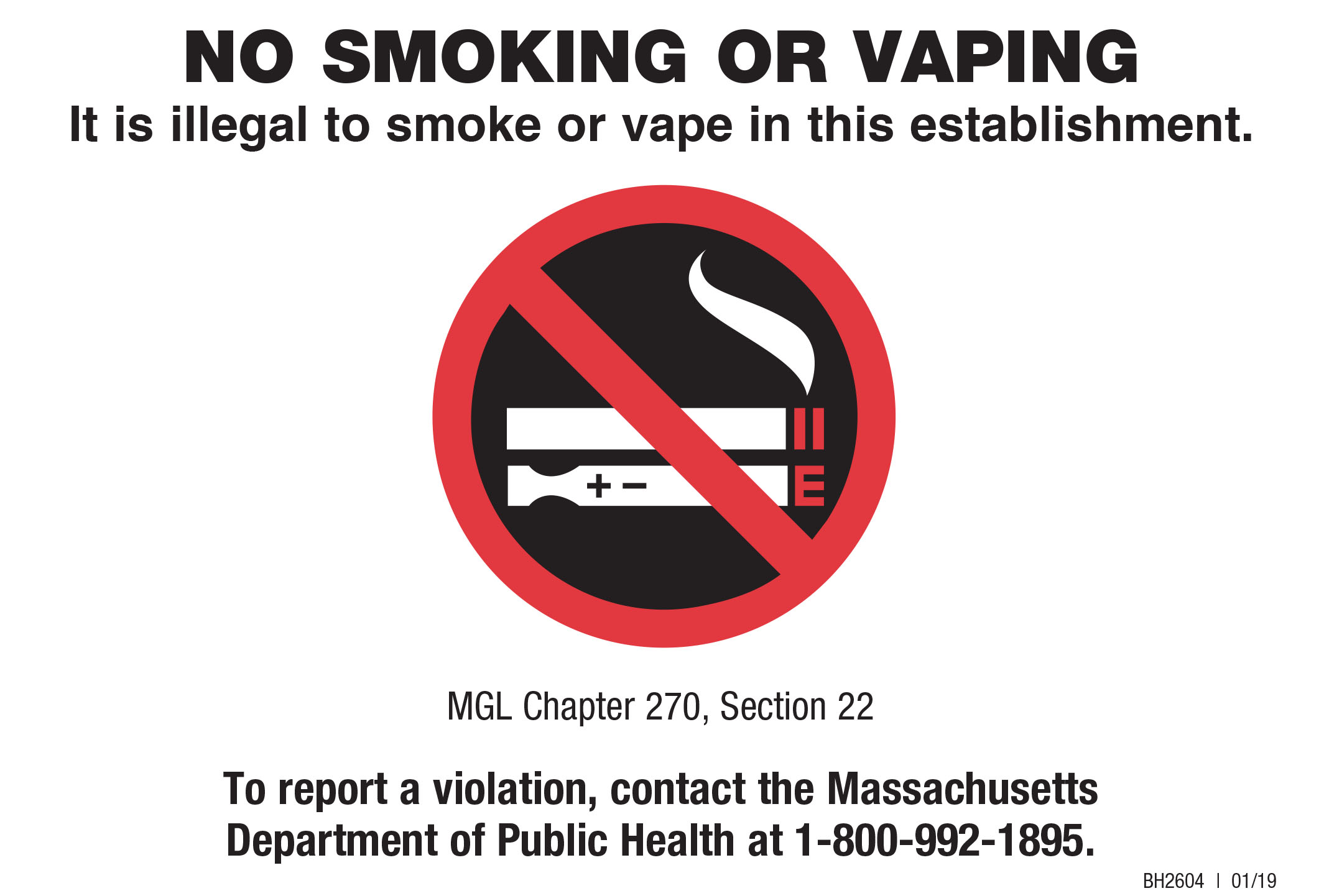 It Is Illegal To Smoke In This Establishment Small Sign