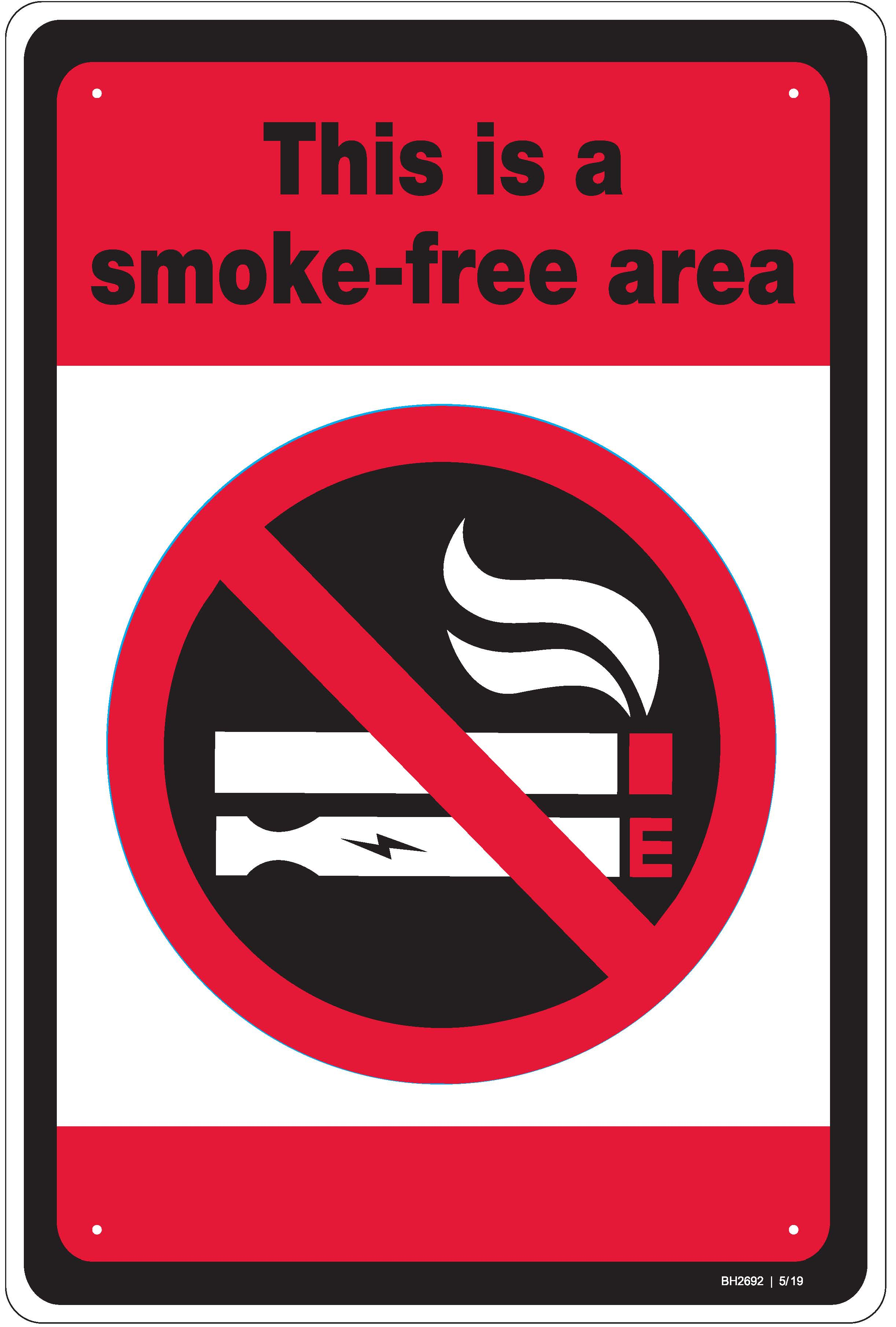 This Is A Smoke Free Area Metal Sign With Dual Symbol
