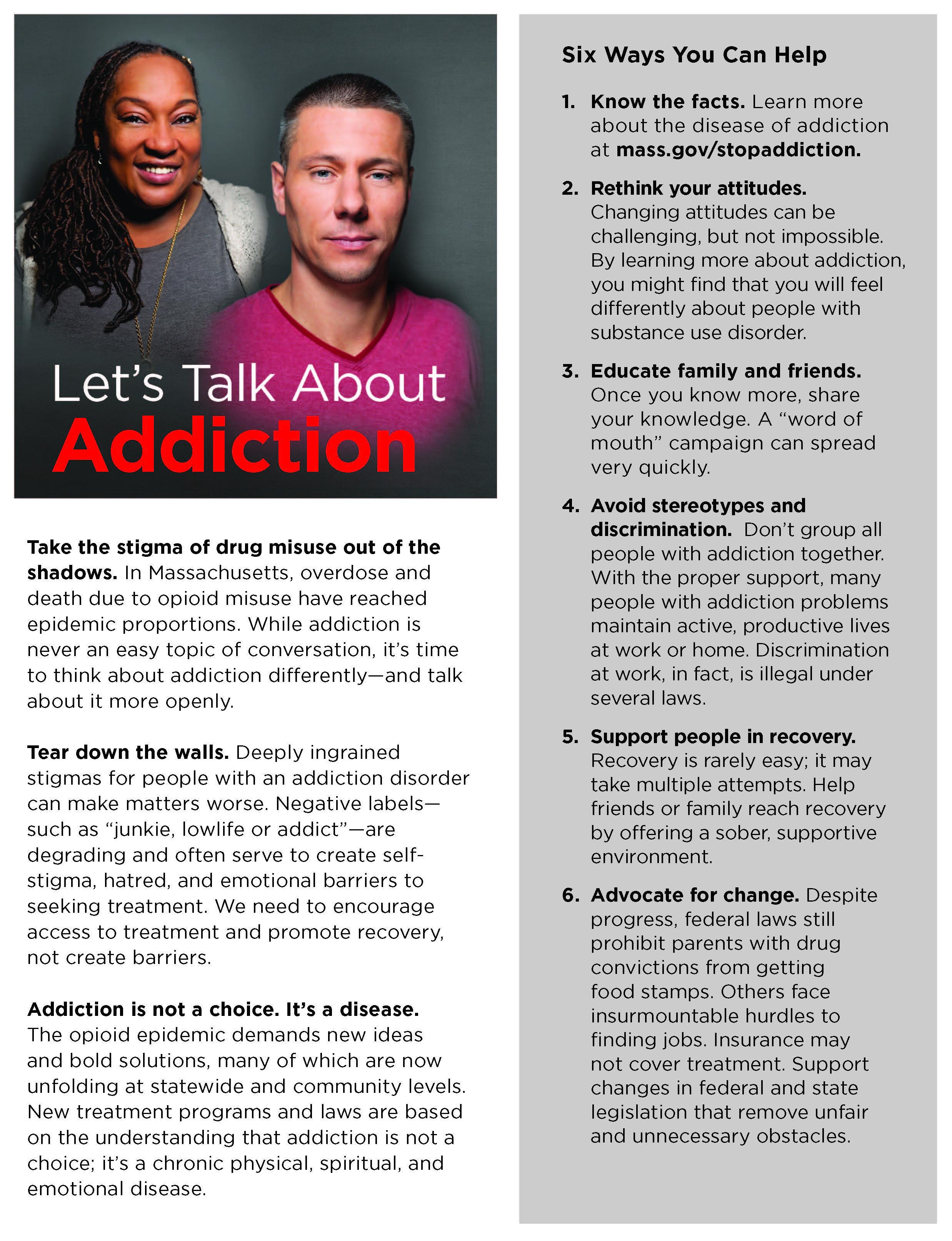 Talk About Addiction Fact Sheet