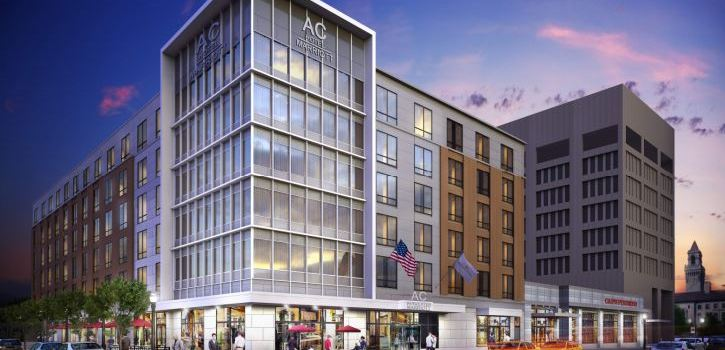 An artist rendition of the AC Hotel at City Square in downtown Worcester, MA.