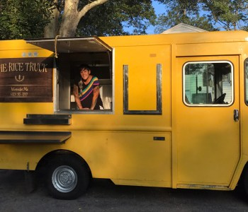 Teri Goulette showcasing her new food truck: The Rice Truck