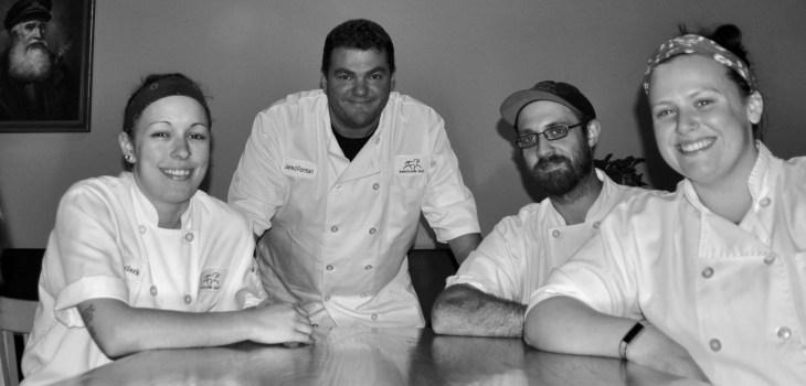 deadhorse hill's culinary team: Chef de cuisine Robin Clark, Executive Chef Jared Forman, Nathan Sanden, and new addition, Erin Hockey