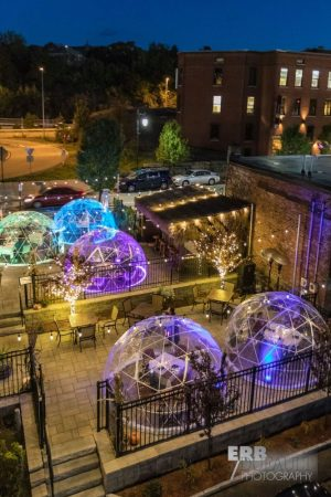 Lock 50, in Worcester, offer igloos to extend patio dining throughout winter.