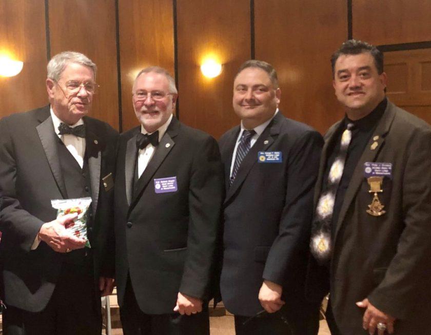 Photo L-R: MW Paul Fulton Gleason; RW Grand Marshal RW Richard Maggio; Bro. George Matta (Bethesda); Dist. 3 DDGMar. Wor. Phil Privitera.