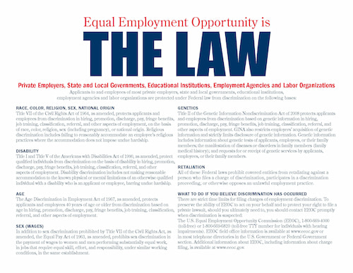 Equal Employment Opportunity is the Law