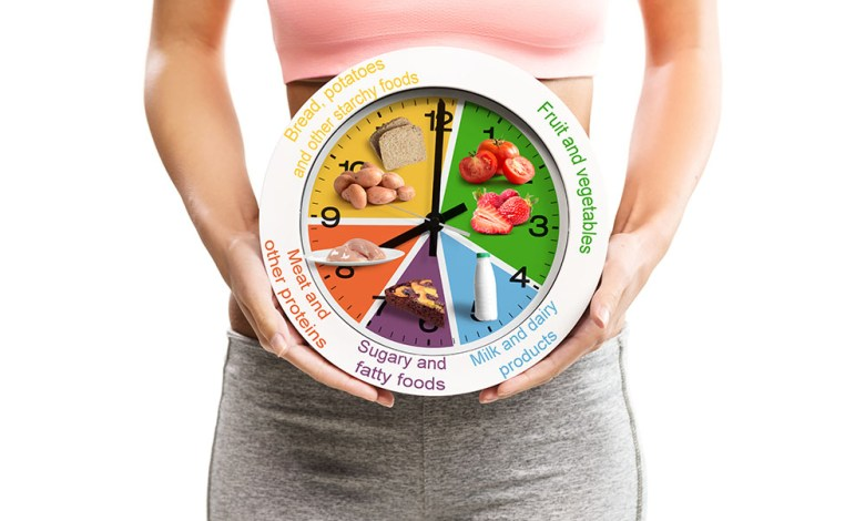 Beautiful, young woman holding a clock with food chart/eating sc