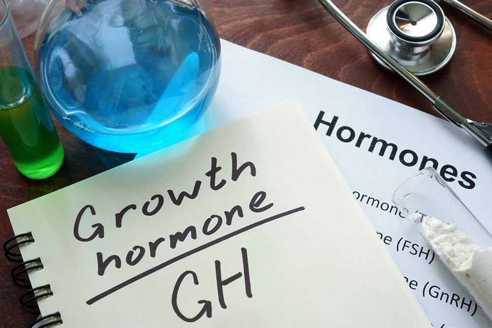 growth hormone written on notebook. Test tubes and hormones list