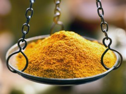 curry spice powder in bowl weights