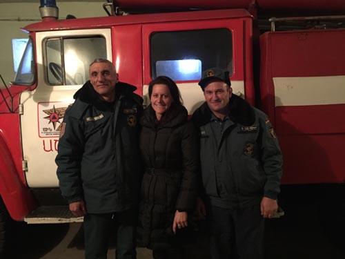 Chief Radik,Jamie Kolar, and the on-duty fire captain at the Ashotsk Fire Station