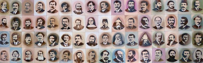 "This is a segment from a collection of portraits by artist Nalan Yirtmaç of 100 Ottoman Armenian intellectuals who were arrested and taken to concentration camps on April 24, 1915, created for the exhibition ""Without knowing where we are headed…"""