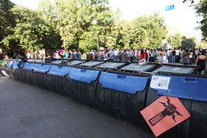 The protest action against electricity price increase is continued on Baghramyan Avenue