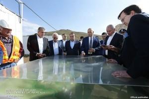 Prime Minister Hovik Abrahamian (fourth from left) and U.S. Ambassador Richard Mills (R) visit the Amulsar gold deposit