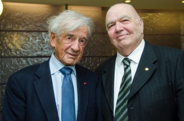 Nobel Peace Prize Laureate Elie Wiesel and UCLA Professor Emeritus of History Richard Hovannisian at Chapman University in 2013.