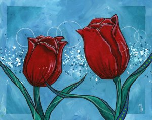 Tulips and Teal #2 | Original Art by Miles Davis | Massive Burn Studios