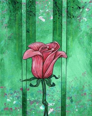 Pink Rose #1 | Original Art by Miles Davis | Massive Burn Studios