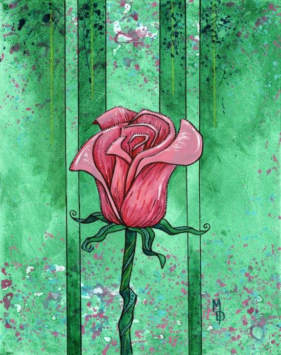Pink Rose #2 | Original Art by Miles Davis | Massive Burn Studios