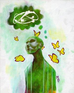 Thoughts Aflutter   Original Art by Miles Davis   Massive Burn Studios