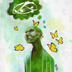 Thoughts Aflutter | Original Art by Miles Davis | Massive Burn Studios