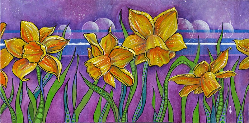 Yellow Daffodils | Original Art by Miles Davis | Massive Burn Studios
