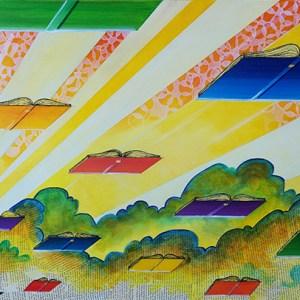 The Morning Flock of Books | Original Art by Miles Davis | Massive Burn Studios