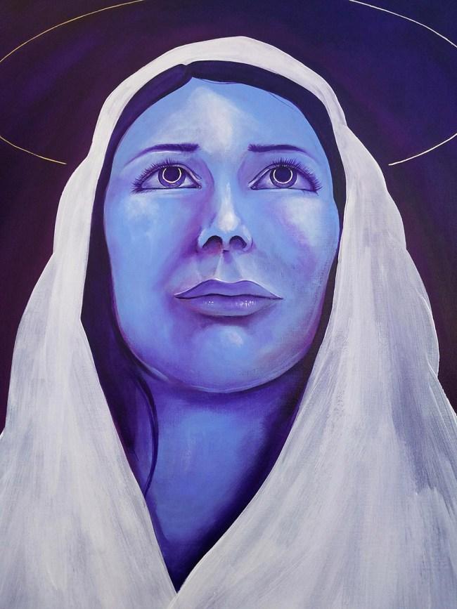 Detail of Mother | Painting of the Virgin Mary by Atlanta Artist Miles Davis | Massive Burn Studios