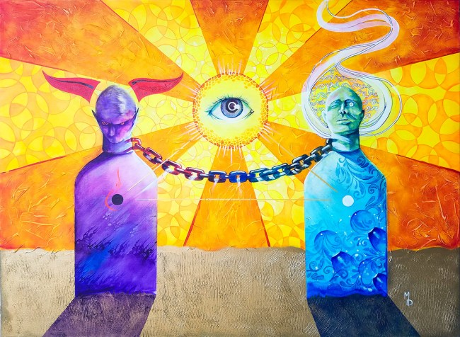 Connected | Original Painting by Pop-Surrealist Artist Miles Davis | Massive Burn Studios