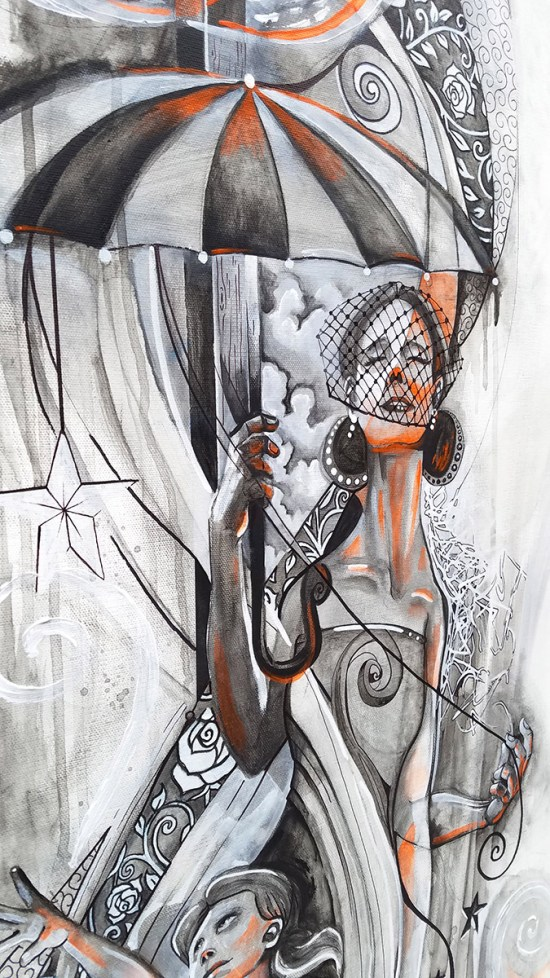 Detail of Fire & Rain | Original Painting by Pop-Surrealist Artist Miles Davis | Massive Burn Studios