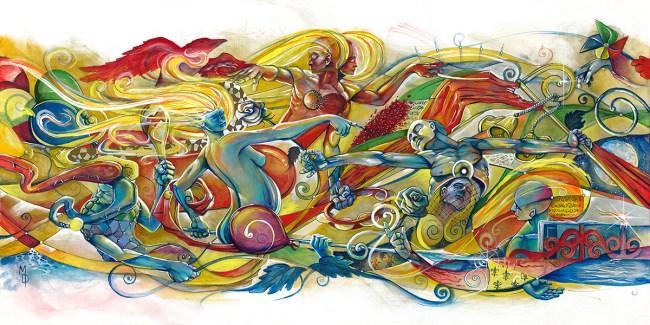 March of Life II | Original Painting by Pop-Surrealist Artist Miles Davis | Massive Burn Studios