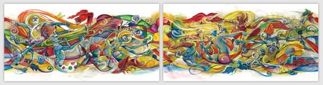 March of Life I & II | Original Painting by Pop-Surrealist Artist Miles Davis | Massive Burn Studios