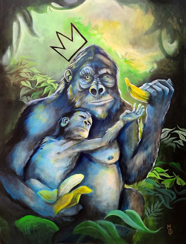 Banana King | Original Painting by Modern Surrealist Artist Miles Davis | Massive Burn Studios