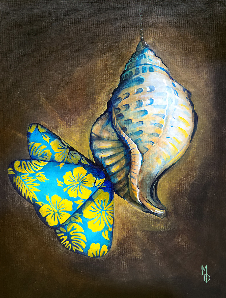 Bahama Butterfly | Original Painting by Modern Surrealist Artist Miles Davis | Massive Burn Studios