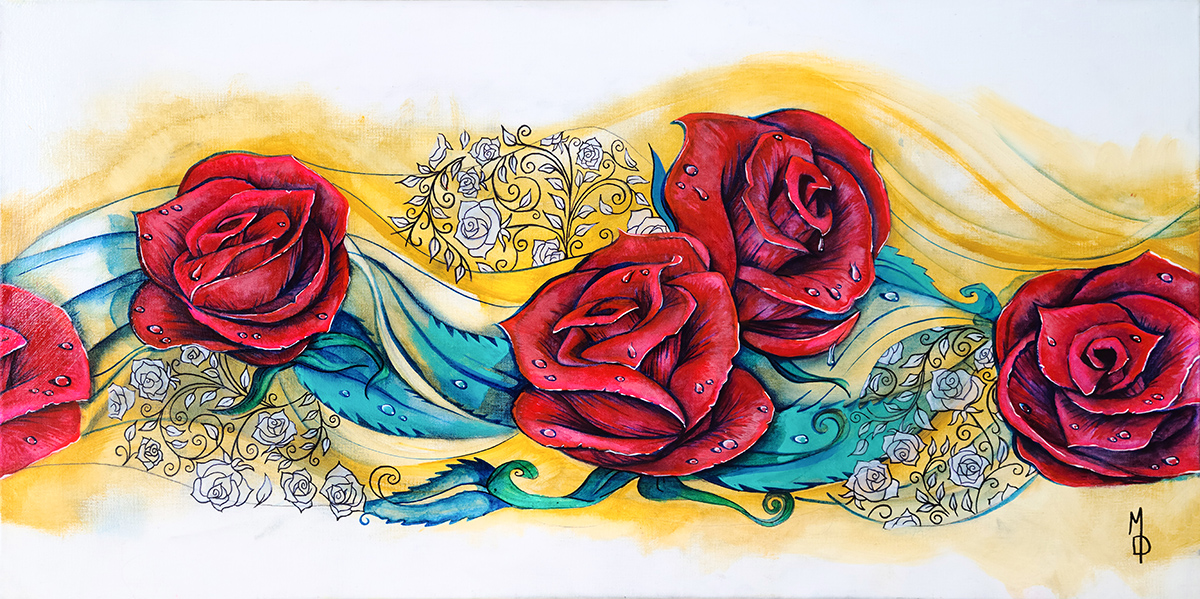 Twisting Roses | Original Painting by Modern Surrealist Artist Miles Davis | Massive Burn Studios