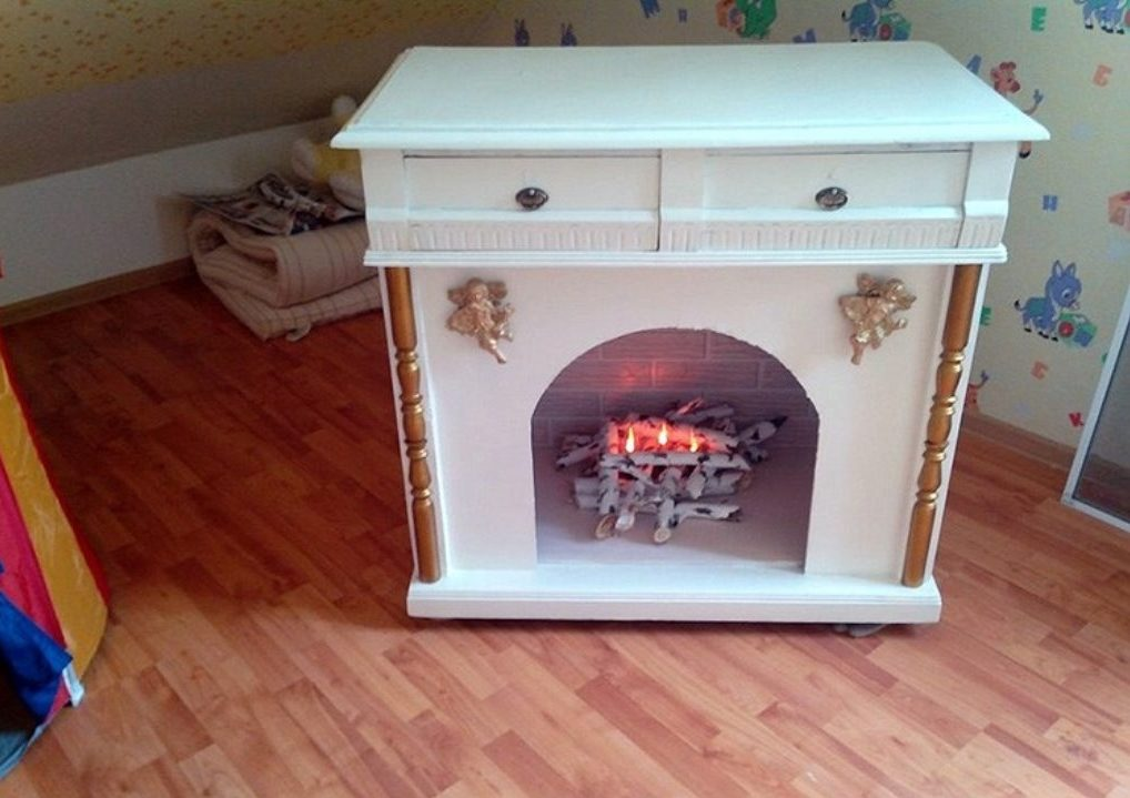 Decorative fireplace from old furniture