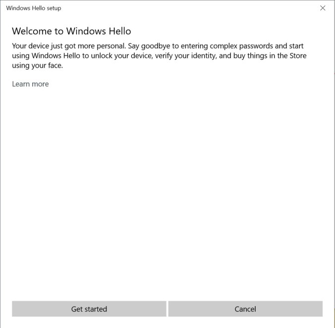 Windows Hello Setup