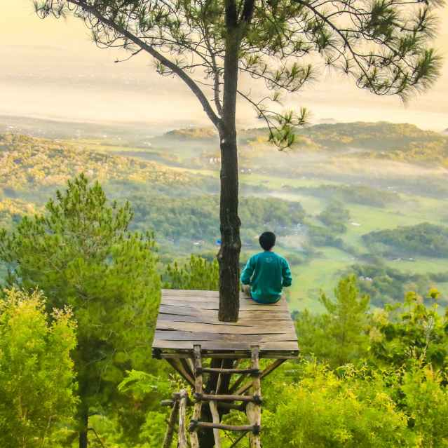Man sitting on a tree stand in front of valley and hills that are covered in green trees.