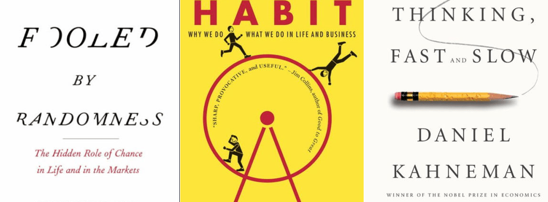 Cover pages of the best leadership books for managers. Fooled by randomness, The power of habit, why we do what we do in life and business, Thinking, fast and slow.