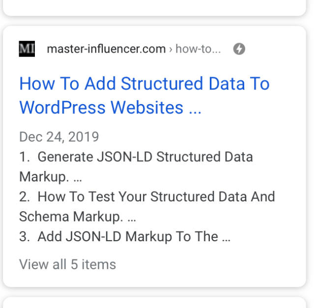 Screenshot of rich results in Google search for how-to structured data from this post.