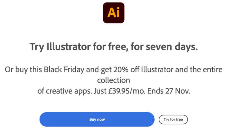 Get Adobe Illustrator Black Friday 2020 7 Days Free Trial Or 20% Off Illustrator and The Entire Collection Of Creative Apps