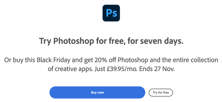 Get Adobe Photoshop Black Friday 2020 7 Days Free Trial Or 20% Off Photoshop and The Entire Collection Of Creative Apps