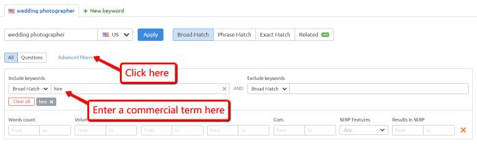 commercial keyword