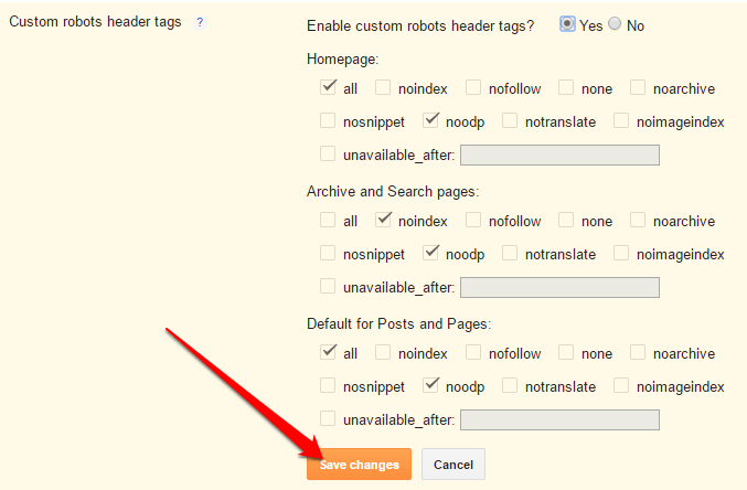 Custom Robots Header Tags Settings