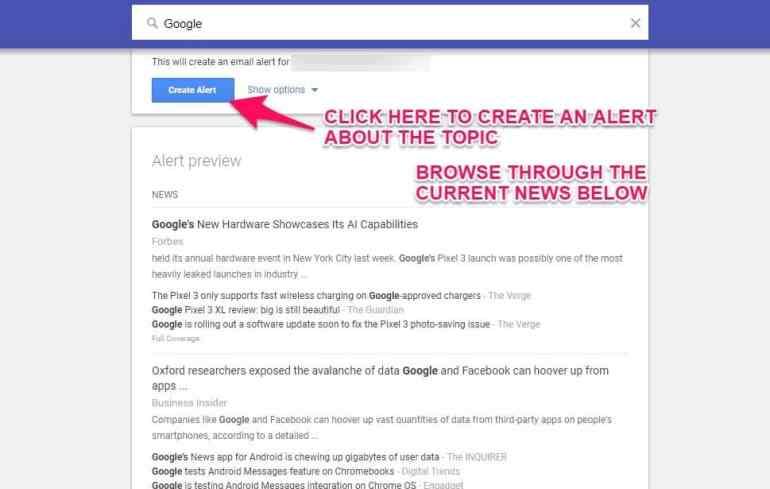 Create google alerts