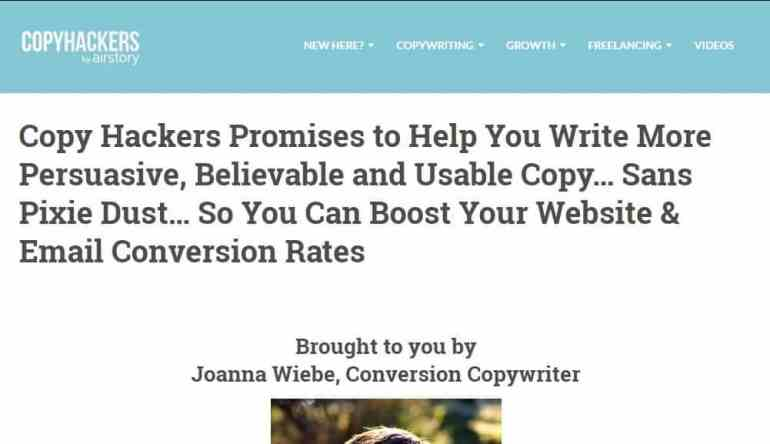 CopyHackers About Page Headline